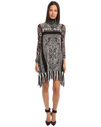 Jean Paul Gaultier Tapestry Tulle Turtlenck Dress with Fringe - Lyst