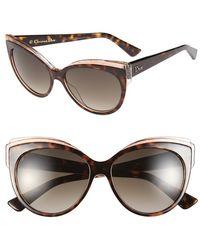 Dior Women'S 'Glisten 1' 56Mm Cat Eye Sunglasses - Havana - Lyst