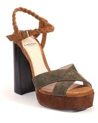 Lanvin | Braided Suede Platform Sandals | Lyst