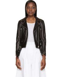 Acne Studios Black Leather Mock Biker Jacket - Lyst