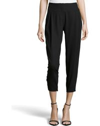 Halston Heritage Pleated Cropped Wool-Knit Trousers black - Lyst