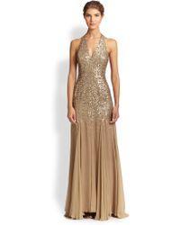 Halston Heritage Sequin-top Halter Gown - Lyst