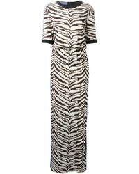 Emanuel Ungaro Zebra Print Maxi Dress - Lyst