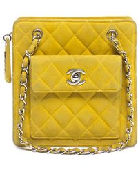 Chanel Pre-owned Yellow Suede Quilted Mini Shoulder Bag - Lyst