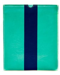 Clare Vivier Leather Ipad Case In Green With Navy Stripe - Lyst