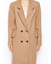 Ganni Double Breasted Long Lined Coat - Lyst