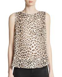 Haute Hippie Split Back Leopard-Print Silk Tank - Lyst