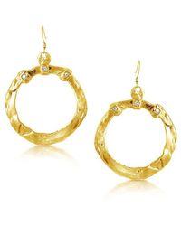 Belcho - Wrinkled Hoop With 3 Cz's Earrings - Lyst