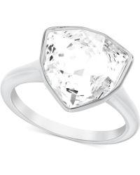 Swarovski Silvertone Crystal Stone Trillion Ring - Lyst