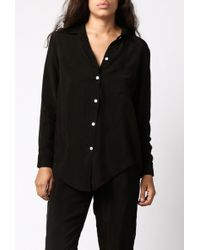 Objects Without Meaning Silk Button-Down Shirt brown - Lyst