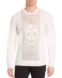 Alexander McQueen   Perforated Skull Wool Sweater   Lyst