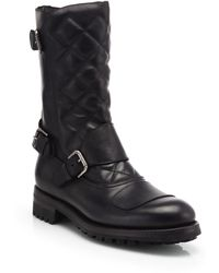 Ralph Lauren Grover Quilted Leather Moto Boots - Lyst