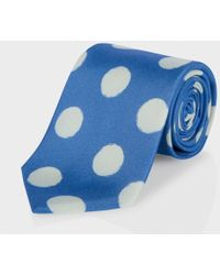 Paul Smith Sky Blue Painted Polka Dot Classic Silk Tie - Lyst