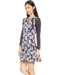 Rebecca Taylor Geo Print Pleat Dress  Charcoal - Lyst