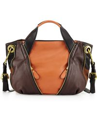 orYANY Lian Small Zip Leather Satchel Bag beige - Lyst