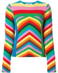 Valentino '1973' Chevron Stripe Cashmere Sweater - Lyst