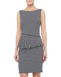Laundry By Shelli Segal Striped Asymmetric Peplum Dress - Lyst