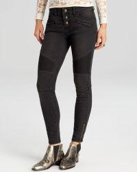 Free People Seamed Moto Skinny Jeans - Lyst