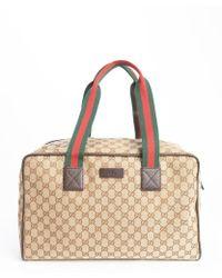 Gucci Beige Gg Canvas Medium Carry-on Duffel - Lyst