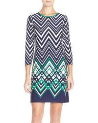 Eliza J | Chevron Jersey Shift Dress | Lyst