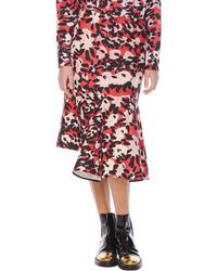 Marni Abstract Floral Print Skirt with Side Godet - Lyst