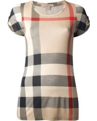 Burberry Brit Checked T-Shirt - Gray