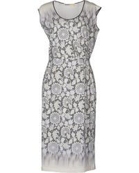Clements Ribeiro Floral Jersey Turquoise Knee Length Dress - White