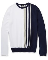Jil Sander Striped Cotton Sweater - Lyst