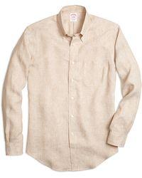 Brooks Brothers Regular Fit Linen Sport Shirt - Lyst