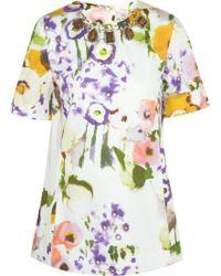Lela Rose Embellished Printed Cotton-Blend Top - Lyst