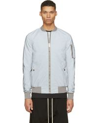 DRKSHDW by Rick Owens Silver Reflective Bomber Jacket - Lyst