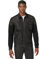 Calvin Klein Coated Twill and Ponte Jacket - Lyst