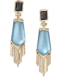 Alexis Bittar Sport Deco Lucite & Crystal Spear Fringe Clip-On Drop Earrings gold - Lyst