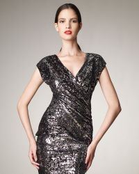 Donna Karan New York Wrapped Sequin Top - Lyst