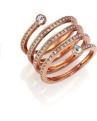 Michael Kors | Park Avenue Glam Pavé Spiral Ring/rose Goldtone | Lyst