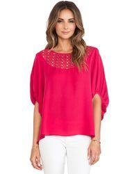 Catherine Malandrino Galena Drop Shoulder Oversized Silk Blouse - Lyst