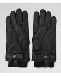 Reiss Booth Cuffed Leather Gloves - Lyst