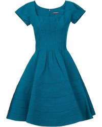 Zac Posen Cap Sleeved Silk Faille Party Dress - Lyst