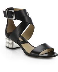 Michael Kors Leigh Crystal-Embellished Leather Sandals - Lyst