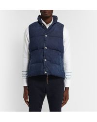 Remi Relief Quilted Washed-denim Gilet - Lyst