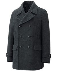 Uniqlo Wool Blended Pea Coat - Lyst