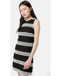 Topshop Stripe Lace Sleeveless Shift Dress - Lyst