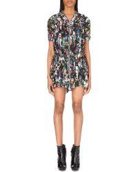 McQ by Alexander McQueen Short Shirred Floral Silk Dress - For Women - Lyst