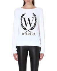 Wildfox Laurel Jersey Sweatshirt White - Lyst