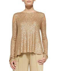 Donna Karan New York Sequined Cashmere Easy Cold-Shoulder Top - Lyst