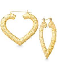 Lyst Macy S Bamboo Heart Hoop Earrings In 10k Gold In Metallic