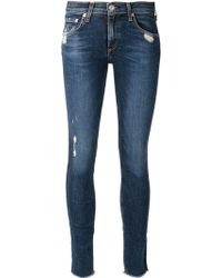 Rag & Bone Blue Distressed Jeans - Lyst