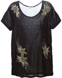 Saint Laurent Star Embroidered T-Shirt - Lyst