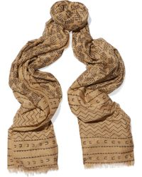 Donna Karan - Printed Cotton And Silk-blend Scarf - Lyst