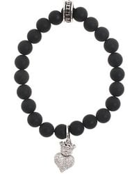 King Baby Studio Onyx Bead Bracelet with Baby Crowned Heart - Lyst